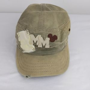 Army Green/Tan destroyed Disney Mickey Mouse Hat